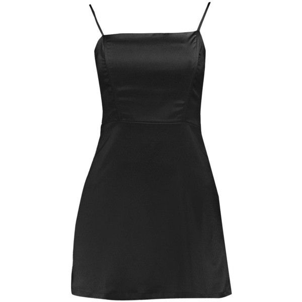 Boohoo Petite Annie Satin A-Line Mini Dress (£14) ❤ liked on Polyvore featuring dresses, a-line dresses, a line silhouette dress, a line cocktail dress, a line mini dress and short petite dresses