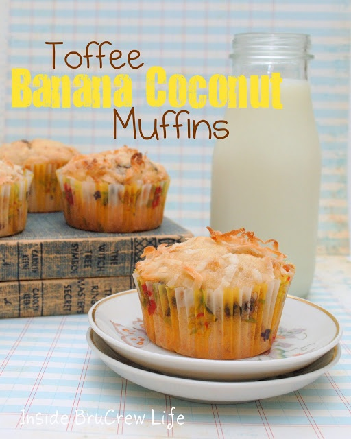 Toffee Banana Coconut Muffins from http://www.insidebrucrewlife.com