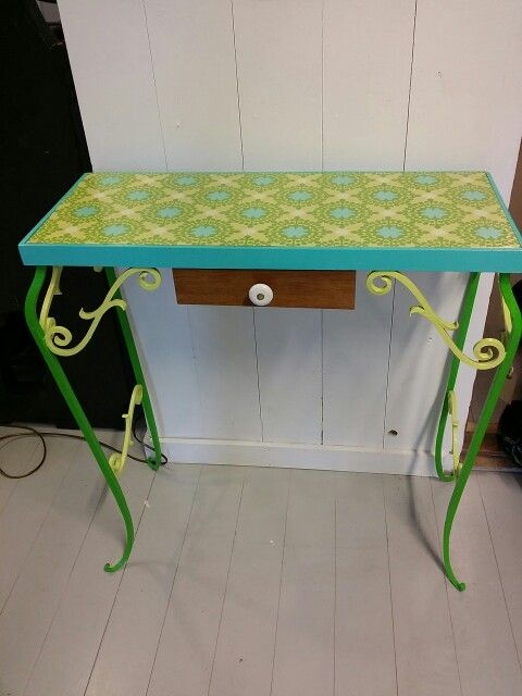 Redesigned flower table with wallpaper and some paint