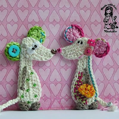 """Spring love - 2 cute little mice from """"Magic with Hook and Needles"""""""
