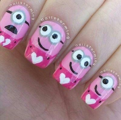 Pink minion nails