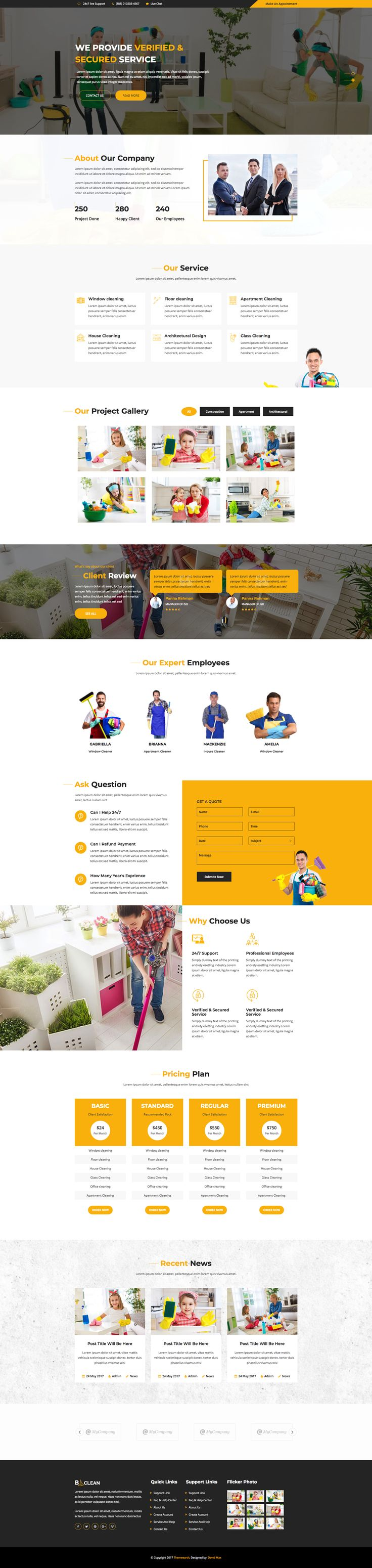 bClean - Cleaning Service HTML5 Responsive Template build with worlds most popular responsive CSS framework Bootstrap.