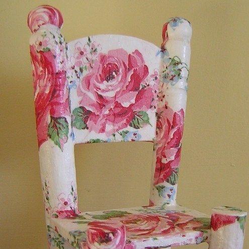Decoupage wooden dolls chair/ornament £7.00