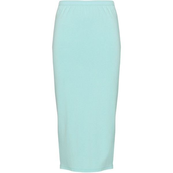 Peter Luft Mint Plus Size Midi jersey skirt ($53) ❤ liked on Polyvore featuring skirts, mint, plus size, mid calf skirts, mint green skirt, mint midi skirt, blue skirt and mint skirt