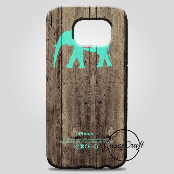 Mint Chevron Elephant On Dark Wood Background Samsung Galaxy Note 8 Case | casescraft