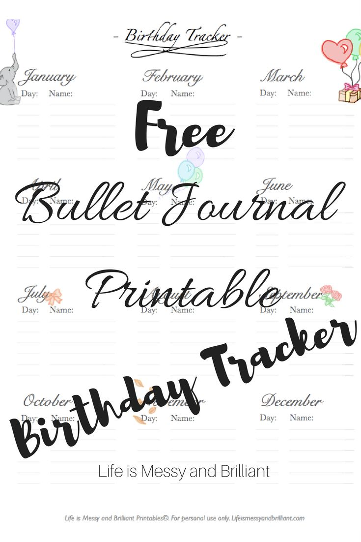 FREE Bullet Journal Birthday Tracker Printable | Planner ...