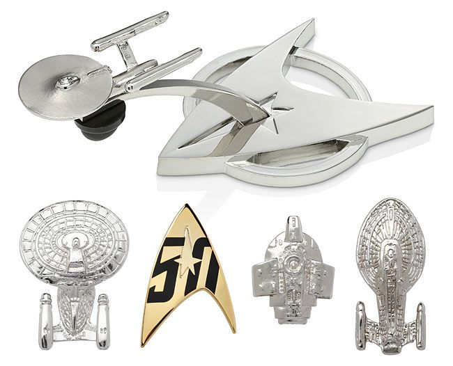 This Star Trek 50th Anniversary Pin Set features 4 famous Starfleet ships, plus Star Trek's 50th Anniversary command insignia logo. Featured are the U.S.S. Enterprise NCC-1701 (naturally), the U.S.S. Enterprise NCC-1701-D, the U.S.S. Defiant, and the U.S.