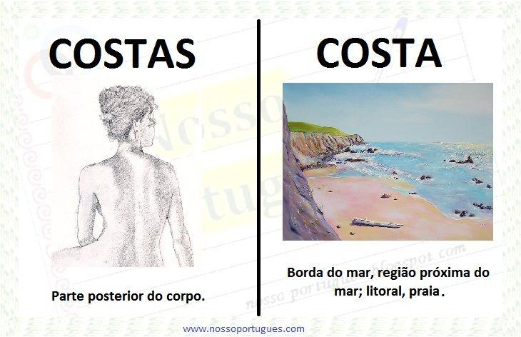 A costa  ou  as costas ? Vamos à definição dos vocábulos no dicionário Aurélio :     Costa : substantivo feminino. Borda do mar, região pró...