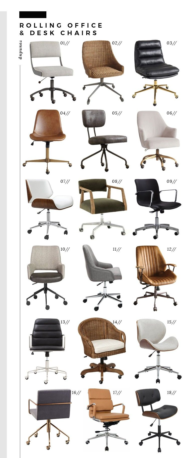 Roundup Rolling Office Desk Chairs Office Chair Design Best Office Chair Black Office Chair