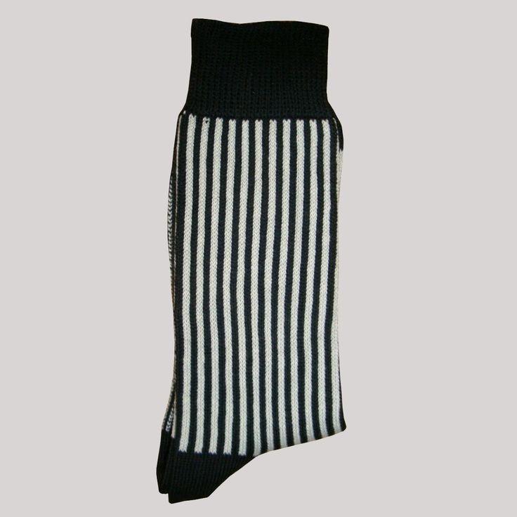 Bassin and Brown Sock Collection - Black/White Vertical Stripe Cotton Socks.  http: - 22 Best Mens Socks - Vertical Stripe Images On Pinterest Brown
