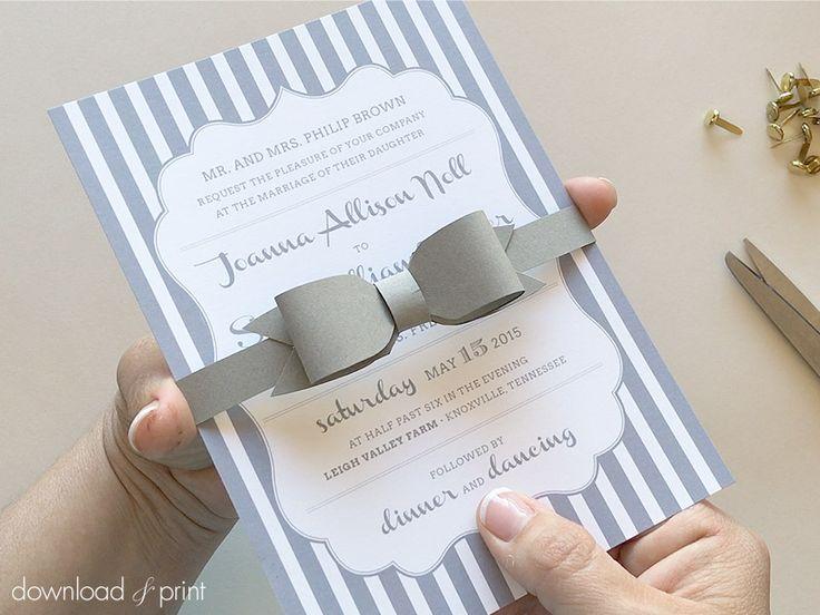 DIY лук галстук группа живота для свадебного приглашения |  Скачать & Распечатать