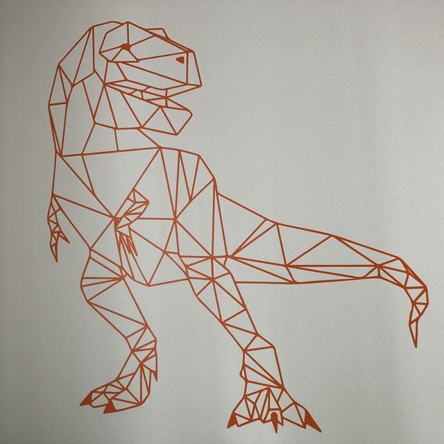 trex dinosaurier jurassic world geometrische wandkunst