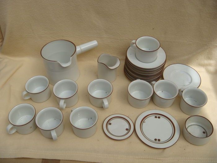 Antieke koffie service - DOMINO - Royal Kopenhagen  Antieke koffie service - DOMINO - Royal KopenhagenHet perceel omvat:1. Koffie werper  pot met een tuit genummerd.In porselein ondertekend onderPrachtig gedecoreerd met een sober bruin Kanta. 2 gevlekte schotels. En een kleine Suikerpot.Koffiepot afmetingen: hoogte: 11 x lengte: 19.5 cm X breedte: 13 cmAfmetingen: Hoogte: 78 cm X lengte: 8 cm X breedte: 6 cmKommetje grootte: hoogte: 4 cm x lengte: 77 cm X breedte: 7.7 cm -> 10. Koffie kopjes…