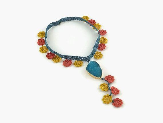 Statement Necklace  Crochet Flower Necklace With Druzy by Nakkashe