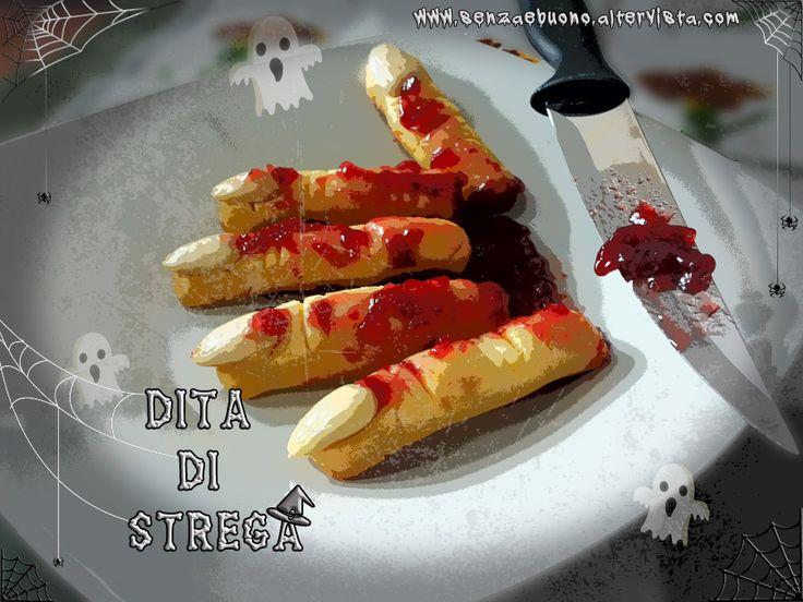 Ricetta per #halloween: dita della strega insanguinate #senzaglutine, #senzalatte e #senzalievito! http://www.senzaebuono.altervista.org/biscotti-halloween-senza-glutine-senza-lattosio