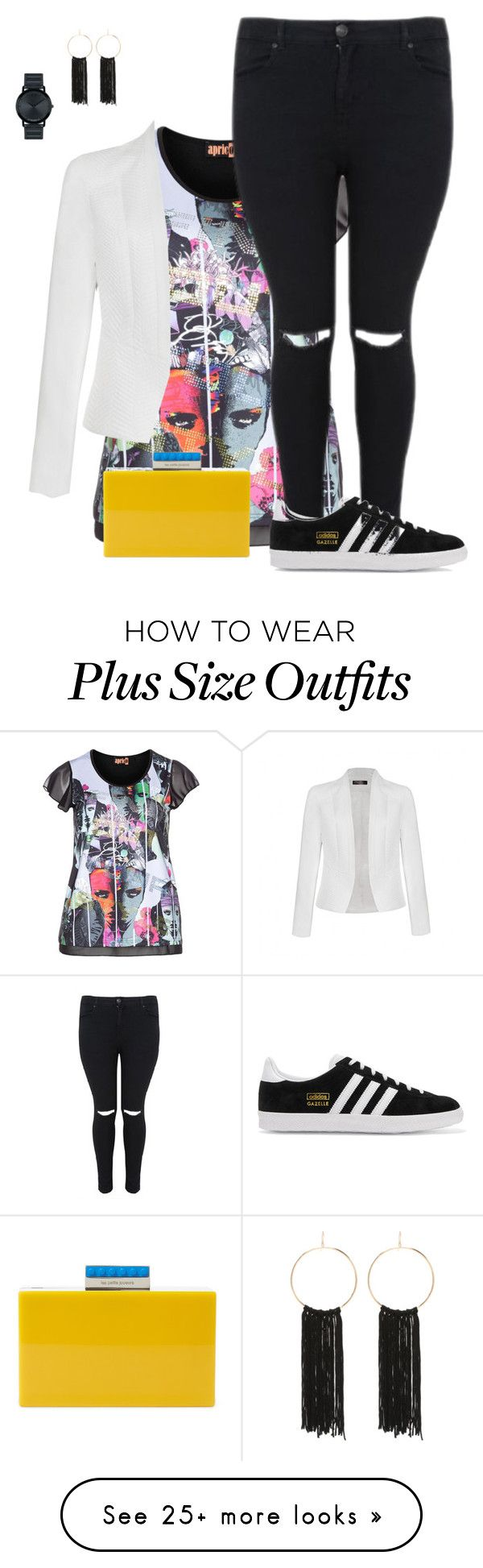 """plus size/out the box"" by kristie-payne on Polyvore featuring aprico, Ally Fashion, Les Petits Joueurs, adidas Originals, Movado and Bebe"