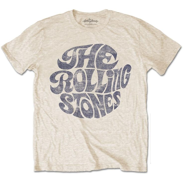 - Officially Licensed The Rolling Stones T Shirts - Vintage 70's logo printed at front - Round-Neck Short Sleeves - Machine Wash - 100% Cotton - Color: Sand
