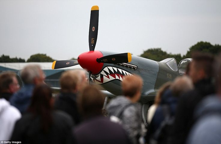 Also on show today was this sneering Mustang fighter , the American air force's own equivalanet of our famous Hurricane and Spitfire planes