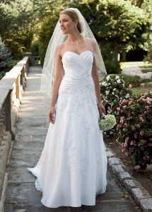 Petite Satin Wedding Dress with Lace and Beaded Appliques