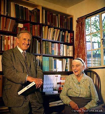 JRR TOLKIEN ;John Ronald Ruel Tolkien ;Photographed with his wife Edith in his study at 76 Sandfield Road , Oxford ;1966 ;English writer , poet and university professor ;Credit : Pamela Chandler / ArenaPAL www.arenapal.com