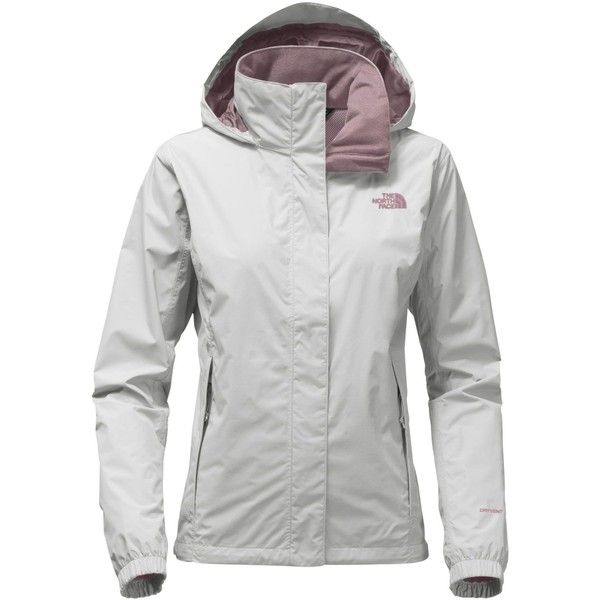 The North Face Resolve 2 Waterproof Packable Rain Jacket ($90) ❤ liked on Polyvore featuring activewear, activewear jackets, high rise grey and the north face