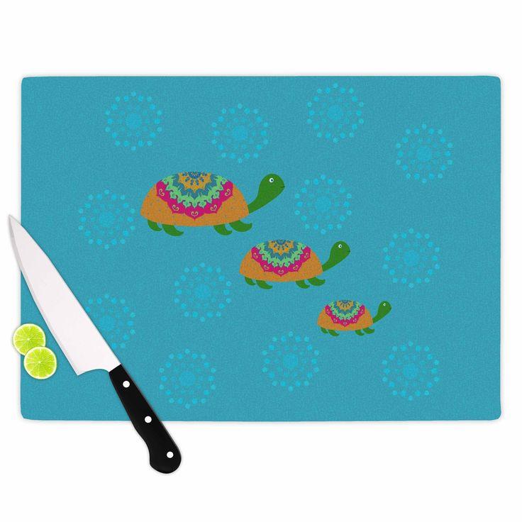 Kess InHouse Cristina Bianco Design 'The Turtles' Teal Orange Cutting Board