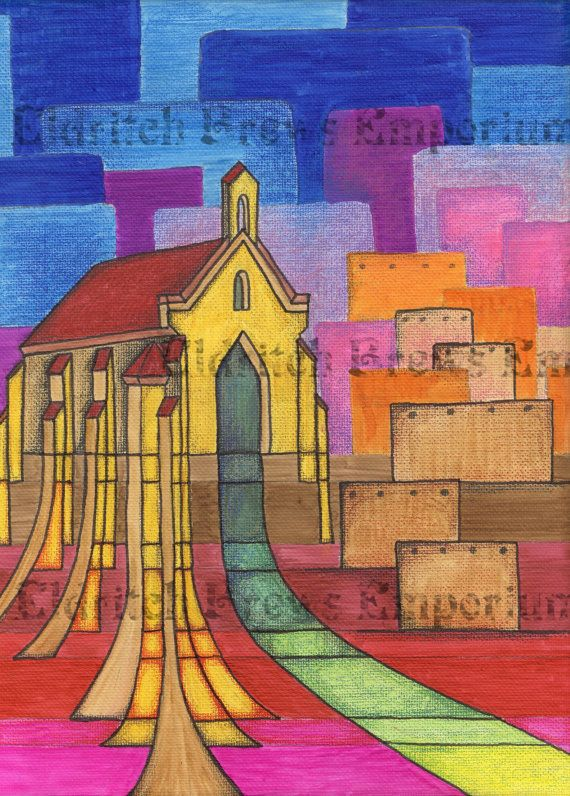 Geometric Southwestern Painting Church At Sunset by EldritchBrews, $80.00