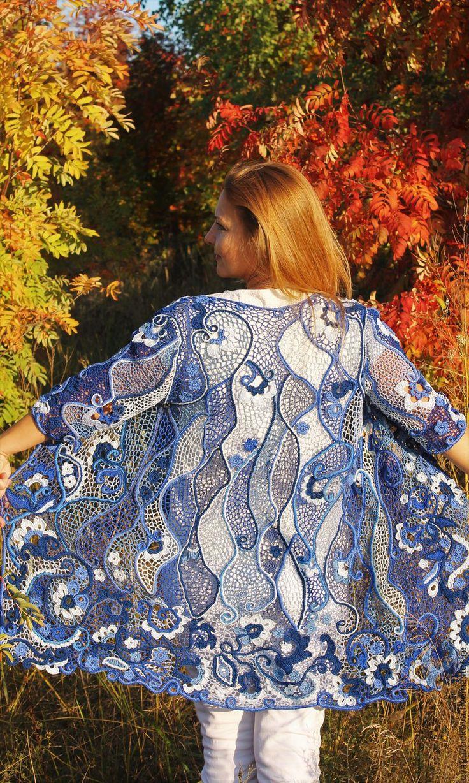 Купить Кардиган Синие грезы - синий, цветочный, ирландское кружево, ирландское вязание, шедевр