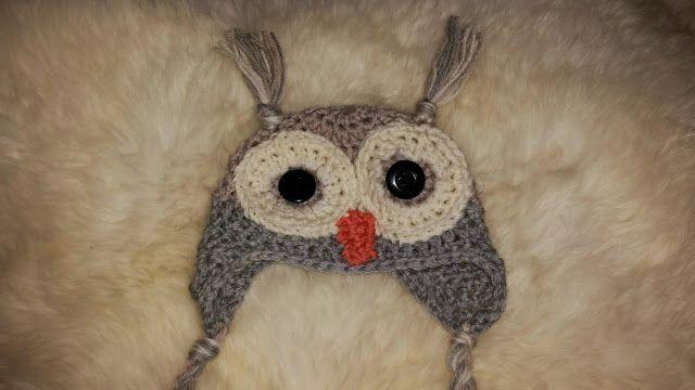 Crochet owl hat for newborn. Blog in Norwegian.