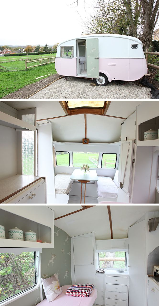 This is the cutest trailer ever! Not sure about the white interior...would get quite dirty going camping..