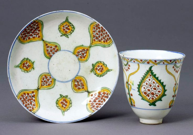 Figure 10 - Coffee cup and saucer, 1700-1800, Kütayha, Turkey. Museum no. 607 & A-1874