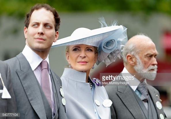 Lord Frederick Windsor, Princess Michael of Kent and Prince Michael of Kent attend day 3 'Ladies Day' of Royal Ascot at Ascot Racecourse on June 16, 2016 in Ascot, England.