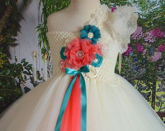 Vintage Peach and Mint Flower girl tutu by TutuSweetBoutiqueINC