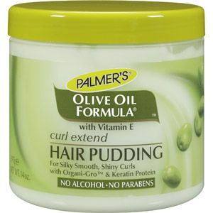 Palmer's Olive Oil Formula Curl Extend Hair Pudding, it leaves you natural hair feelings moist not greasy and without that mouse crunch. I love this product.