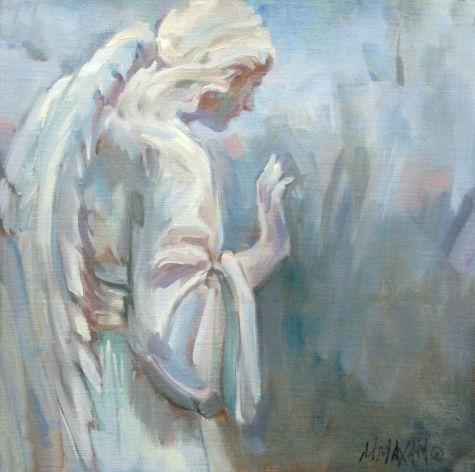 St.Gertrude's Angel- mission garden angel painting, painting by artist Mary Maxam