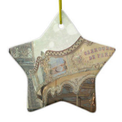 Vintage carousel in Paris with Eiffel Tower Ceramic Ornament - vintage romantic gifts ideas diy