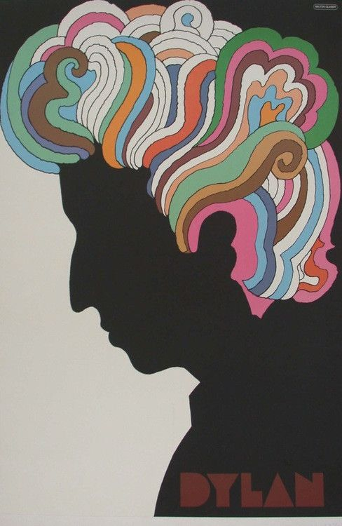Bob Dylan / Artist: Milton Glaser /  Origin: USA - 1967 /  22 x 33 in (56 x 84 cm) / Milton Glaser is a renowned graphic artist who is behind many great images including the famous 'I ♥ NY' logo and this poster for Bob Dylan's Greatest Hits Album with Columbia Records.