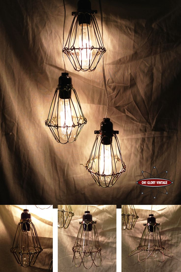 Minimalist Industrial Cage Lights   Minimalist Hanging Lights With  Reproduction Marconi Squirrel Cage Bulbs Included.