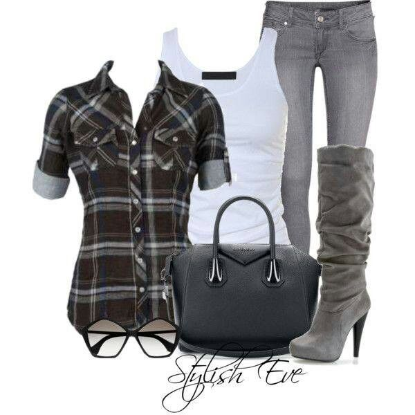 Brown flannel with blue lining, white tank, gray jeans, and boots/purse.