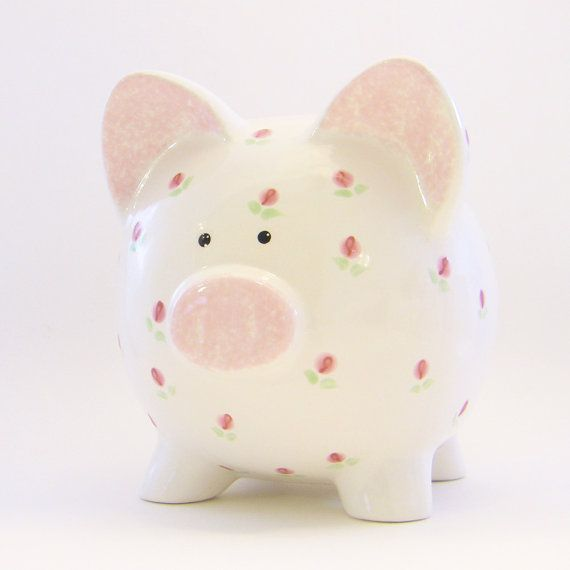 Personalized Piggy Bank  Rosebuds  with hole or NO by ThePigPen, $42.50