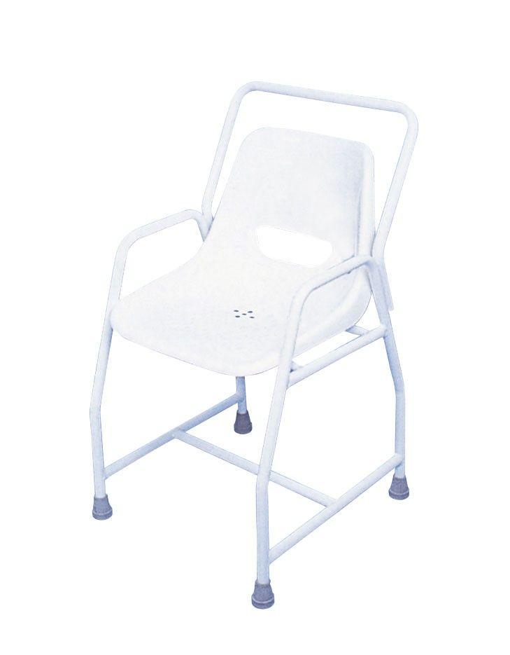 Silla de ducha fabricada con tubos de acero recubiertos de plástico. Confortable asiento de plástico. Dim.Silla fija: Asiento= Alt 45, 5 x Anch. 45,5x Prof. 39 cm./Total= Alt. 85 x Anch. 49,5 x Prof....