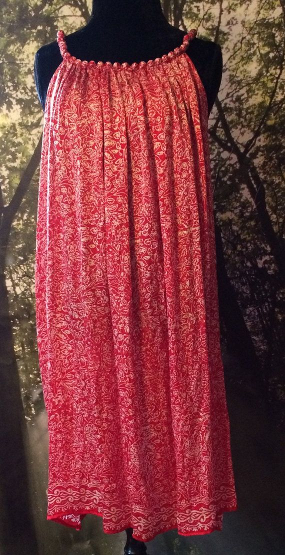 Fabulous Adorable Red Silk Dress or Tunic from by peacefulnomaddesign