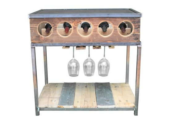 Wine rack bar Table by MichaelGrahamDesigns on Etsy $550