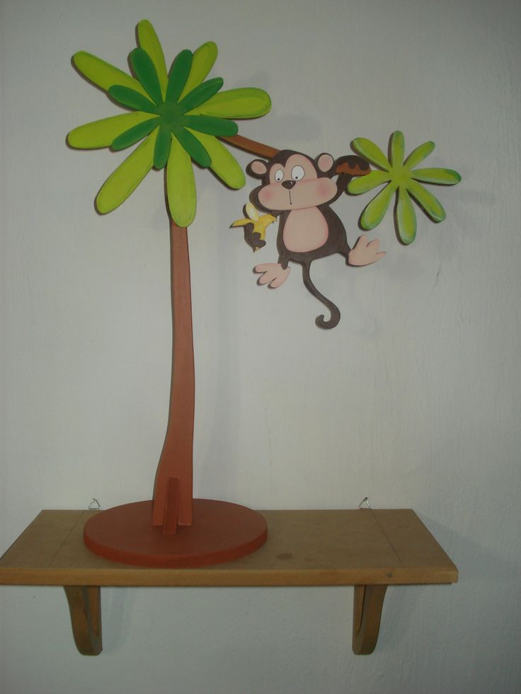 Arbol con chango ideal para centro de mesa y para for Adornos colgar pared