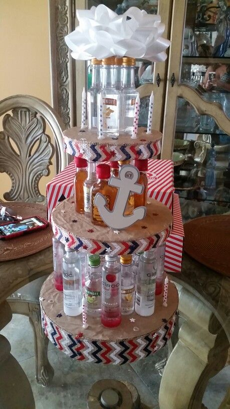 Here's a 3 Tier Personal Bottle Cake! Made for my cousin's welcome home party after she graduated from coast guard bootcamp! I used Styrofoam circles for each base and covered them in paper (burlap). Used American themed ribbon for each tier and added push pins that had red, white and blue stars for the head. Decorated with an anchor and, since it was also her 21st birthday, added some candles.