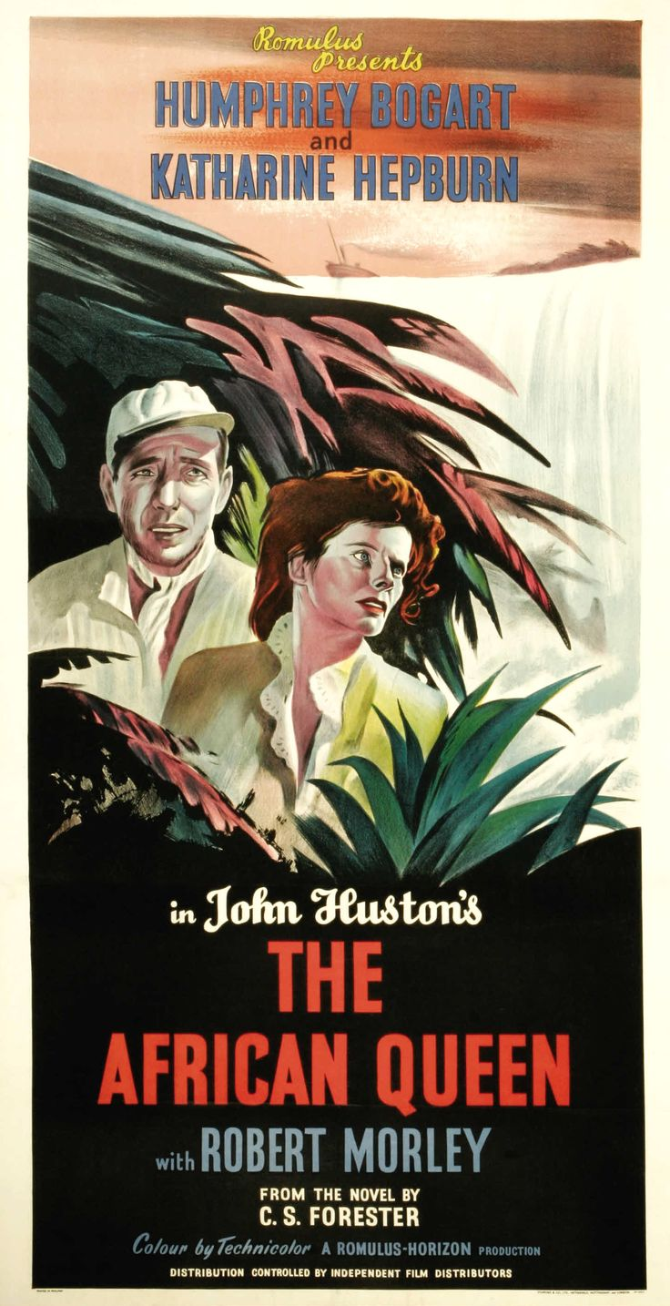 The African Queen (1952)~ Humphrey Bogart & Katherine Hepburn play a pair of mismatched lonely-hearts that fall for each other during a dangerous voyage.
