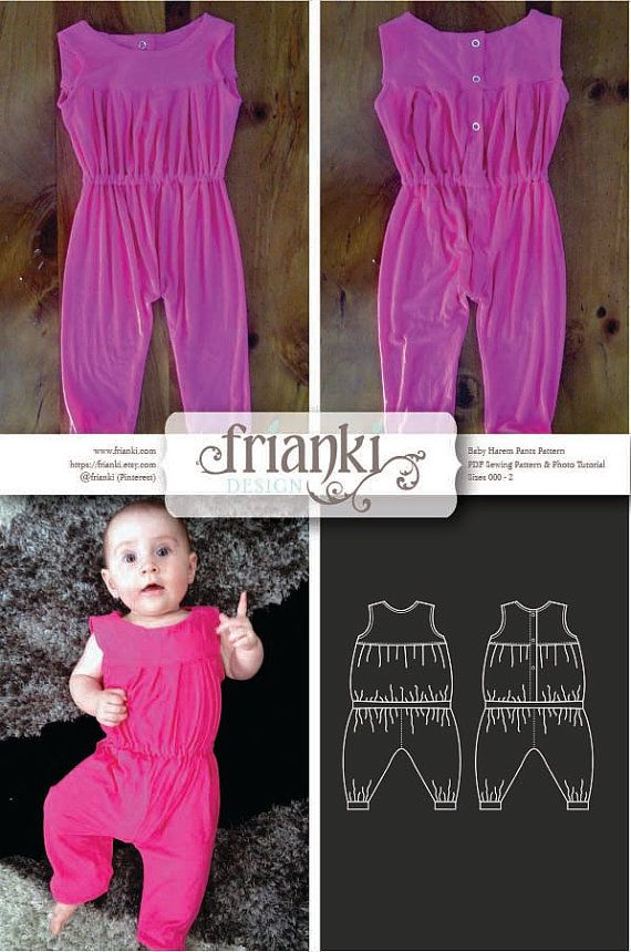 Baby Jumpsuit - PDF Sewing Pattern and Photo Tutorial - Sizes 000 to 2 - Instant Download - Kids Toddler Child Easy Sew Pattern