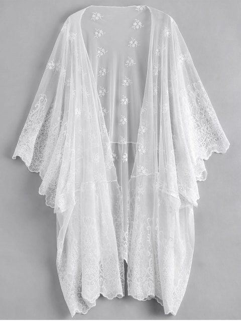 0c6a56b8f9352 Shop for Open Front Embroidered Sheer Poncho Cover Up WHITE: Beach Tops ONE  SIZE at ZAFUL. Only $21.99 and free shipping!
