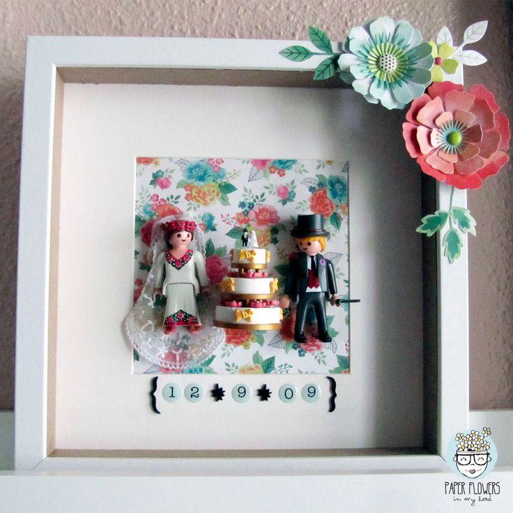 ¿Qué hacer con los muñecos de la tarta de boda? - Cuadro con playmobil.