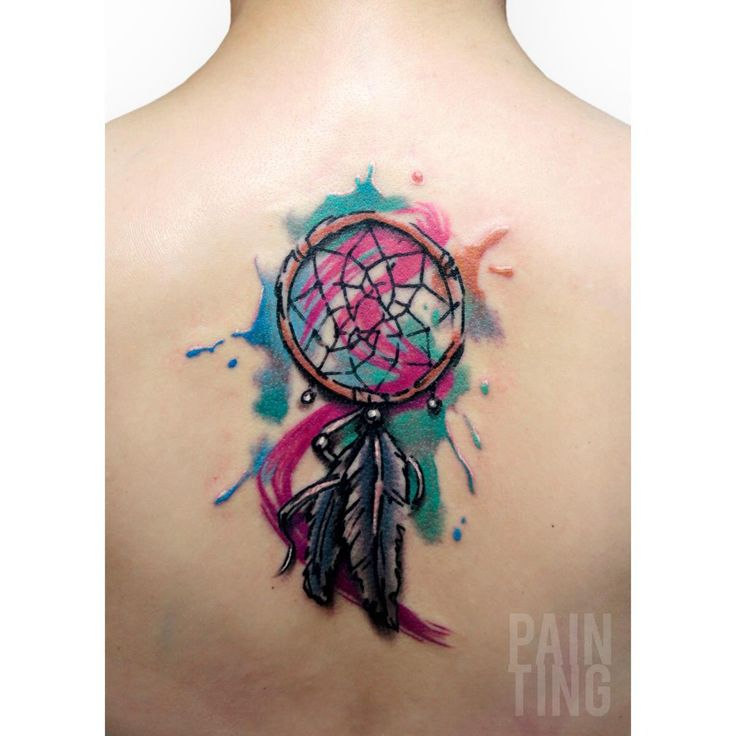 Tatouage dreamcatcher watercolor for Watercolor dreamcatcher tattoo